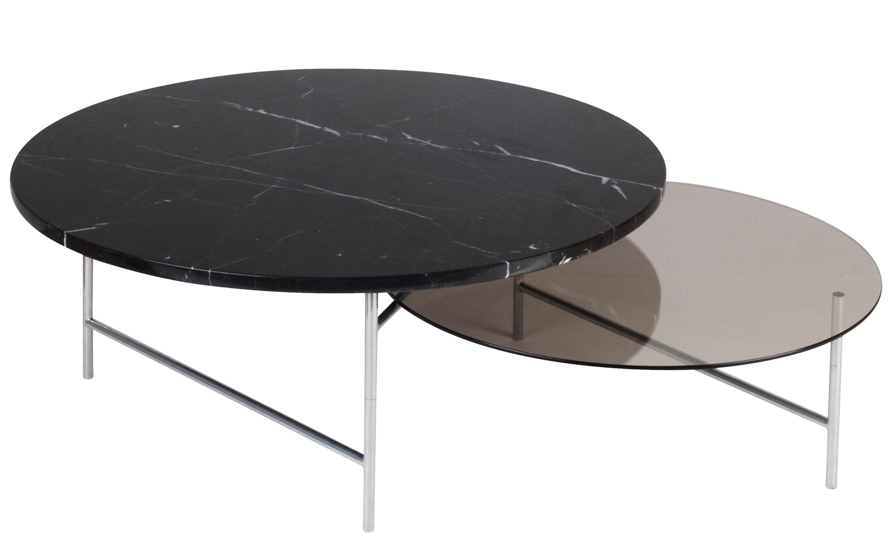Möbel - Couchtische - Zorro Couchtisch / 2 Ebenen - Marmor & Glas - La Chance - Schwarzer Marmor & Rauchglas / Tischgestell chrom-glänzend - Glas, Marbre Marquina, verchromter Stahl