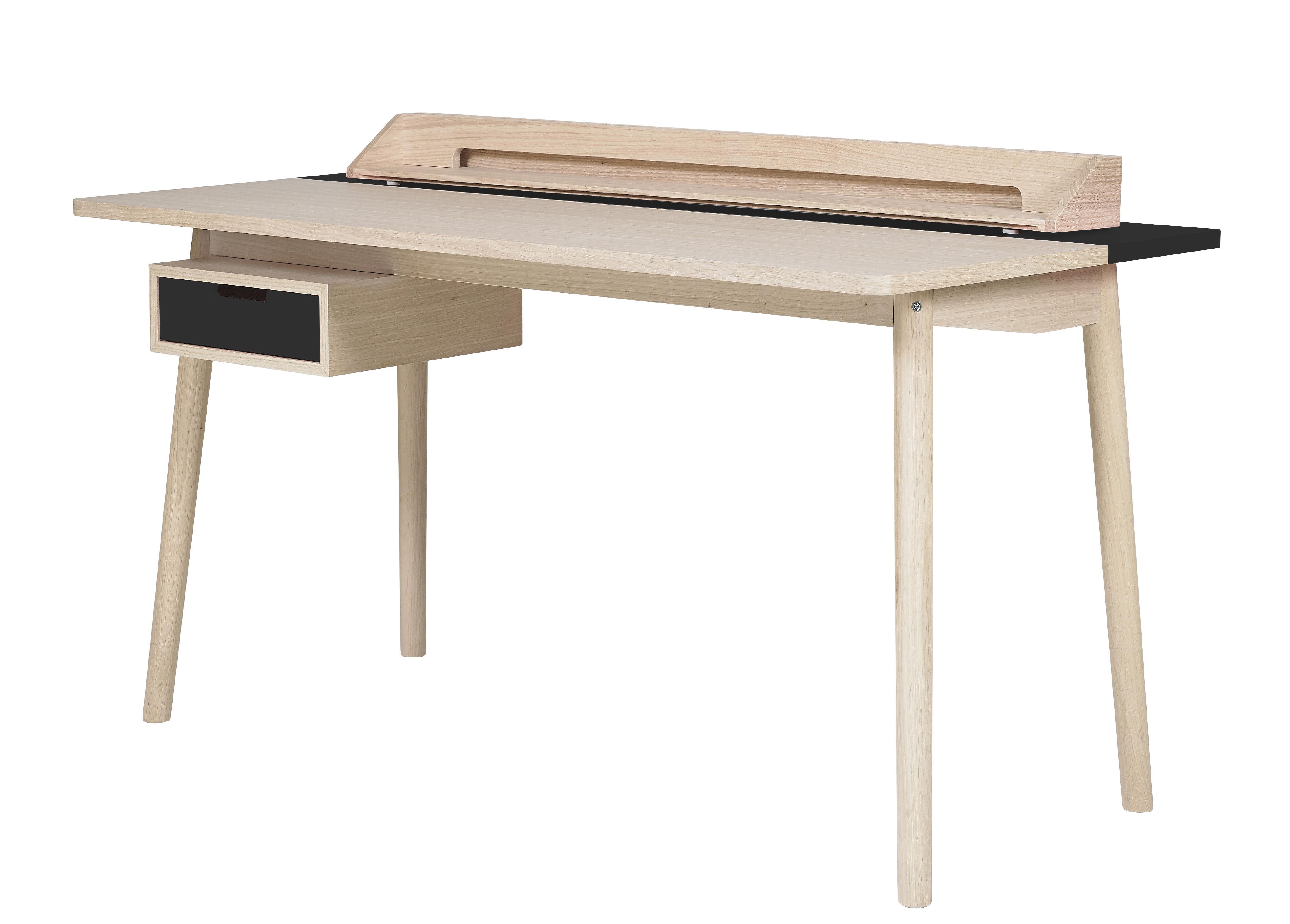 Furniture - Office Furniture - Honoré Desk by Hartô - Grey slate - MDF veneer oak, Solid oak