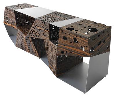 Furniture - Dressers & Storage Units - Riddled Dresser - L 200 cm / Perforated ebony & metal by Horm - Ebony / Aluminium - Aluminium, Perforated ebony