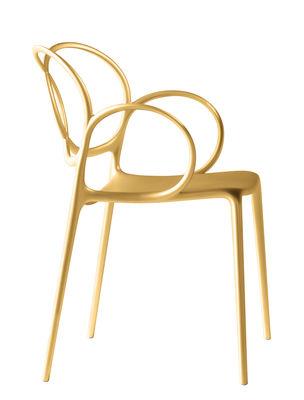 Mobilier - Chaises, fauteuils de salle à manger - Fauteuil empilable Sissi Indoor - Driade - Or - Fibre de verre, Polyéthylène, Polypropylène