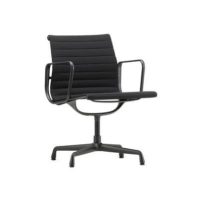 Mobilier - Fauteuils de bureau - Fauteuil pivotant Aluminium Chair EA108 / Base 4 branches - Vitra - Noir (tissu Hopsak) / Alu noir - Aluminium injecté, Tissu