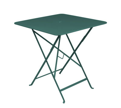 Outdoor - Garden Tables - Bistro Foldable table - 71 x 71 cm - Foldable - With umbrella hole by Fermob - Cedar green - Lacquered steel