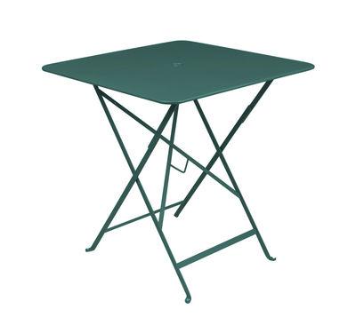 Outdoor - Tische - Bistro Klapptisch 71 x 71 cm - Klapptisch - Mit Loch für Sonnenschirm - Fermob - Zederngrün - lackierter Stahl