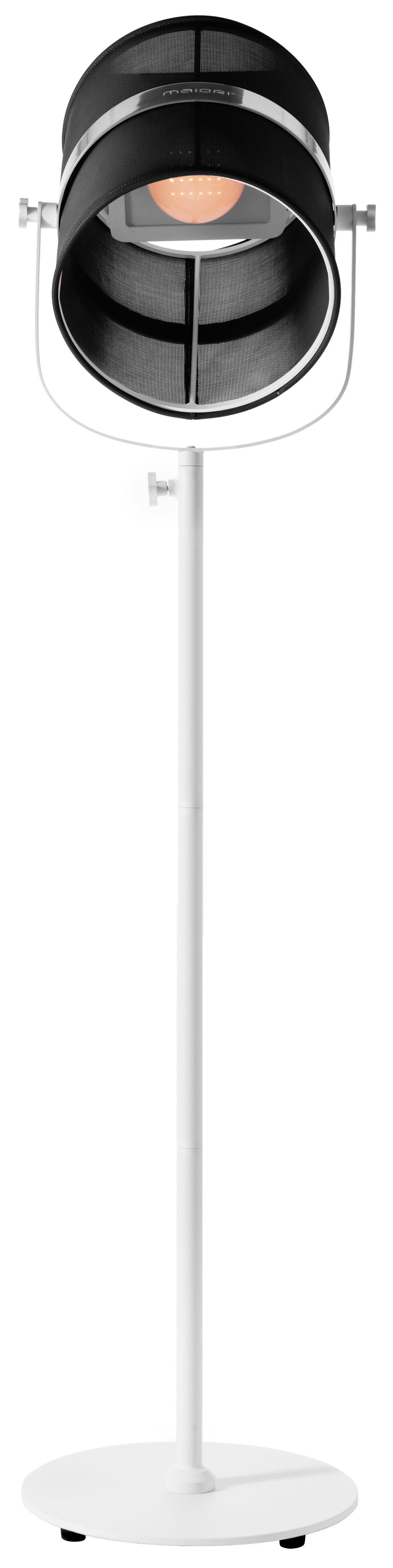 Luminaire - Lampadaires - Lampadaire solaire La Lampe Paris LED / Sans fil - Dock USB - Maiori - Noir / Pied blanc - Aluminium peint, Tissu