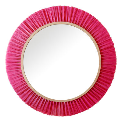 Furniture - Mirrors - Halo Mirror - Large Ø 42 cm by ENOstudio - Pink - Synthetic fibre, Wood