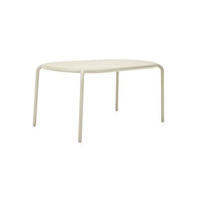 Outdoor - Garden Tables - Toní Tavolo Oval table - / 160 x 90 cm - Parasol hole + removable candle holder by Fatboy - Sand - Powder-coated aluminium