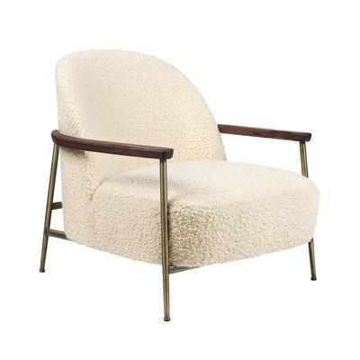 Furniture - Armchairs - Sejour Padded armchair - / Bouclé fabric by Gubi - White / Brass & walnut - Brass, Foam, Plywood, Solid walnut, Terrycloth