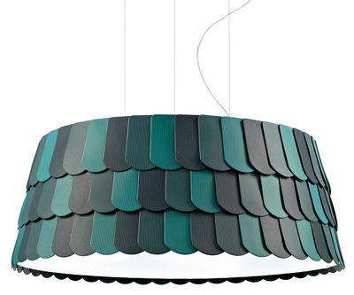 Leuchten - Pendelleuchten - Roofer Pendelleuchte Ø 79 cm x H 32 cm - Fabbian - Grün - Gummi