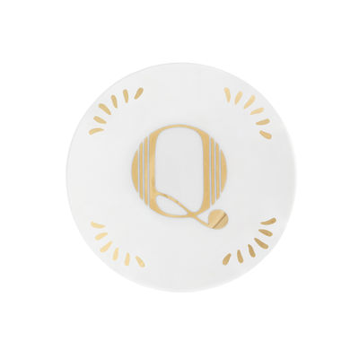 Tableware - Plates - Lettering Petit fours plates - Ø 12 cm / Letter Q by Bitossi Home - Letter Q / Gold - China
