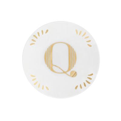 Tavola - Piatti  - Piatto per dolcetti Lettering - Ø 12 cm / Lettera Q di Bitossi Home - Lettera Q / Or - Porcellana