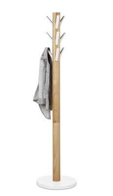Mobilier - Portemanteaux, patères & portants - Portemanteau sur pied Flapper / Patères rabattables - Umbra - Blanc & bois - Bois d'hévéa, Fonte d'aluminium