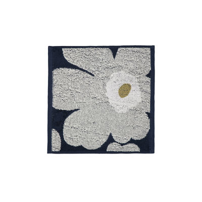 Accessoires - Accessoires salle de bains - Serviette invité Unikko / 30 x 30 cm - Marimekko - Unikko / Bleu marine, gris clair - Coton éponge