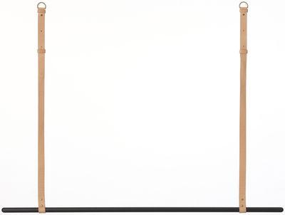 Arredamento - Appendiabiti  - Supporto Clothes Rack - / Da sospendere - L 135 cm di Ferm Living - Barra nera / Cinghie di cuoio beige - metallo laccato, Pelle