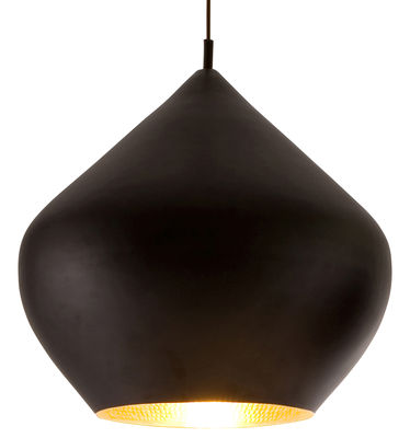 Luminaire - Suspensions - Suspension Beat Stout / Ø 52 cm x H 50 cm - Tom Dixon - Noir / intérieur doré - Laiton