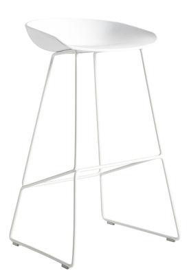 Tabouret de bar About a stool AAS 38 / H 65 cm - Piètement luge acier - Hay blanc en métal