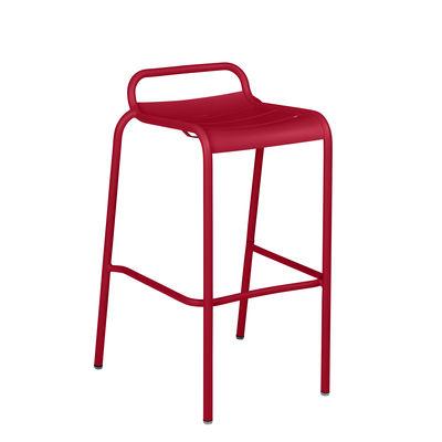 Tabouret haut Luxembourg / Aluminium - H 78 cm - Fermob rouge en métal