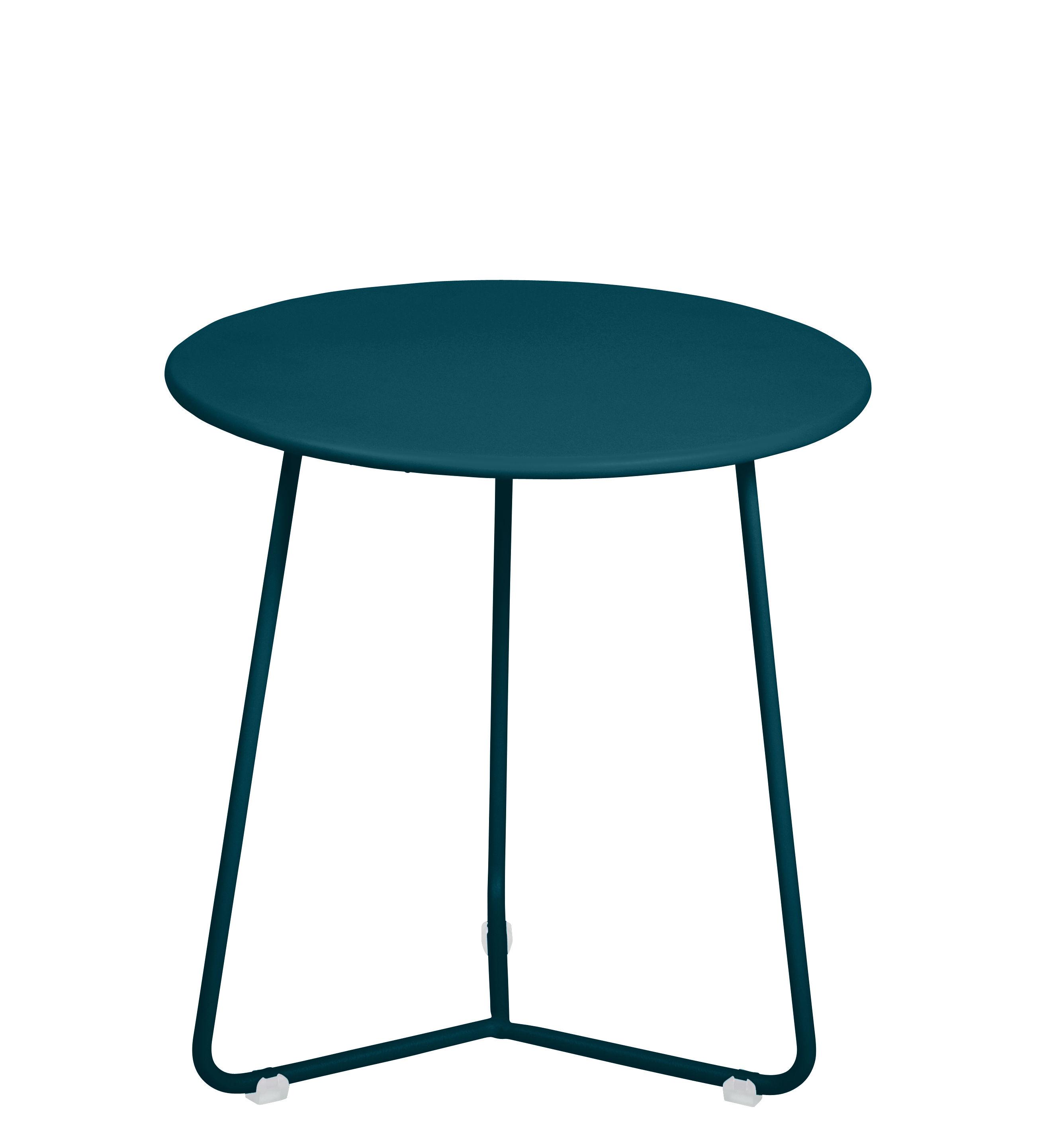 Arredamento - Tavolini  - Tavolino d'appoggio Cocotte - / Sgabello - Ø 34 x H 36 cm di Fermob - Blu Acapulco - Acciaio verniciato