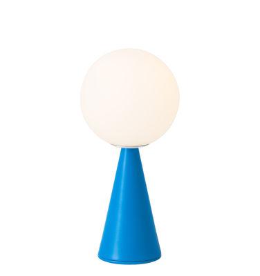 Leuchten - Tischleuchten - Bilia Mini Tischleuchte / Von Gio Ponti (1932) - Fontana Arte - Blau - Metall, Satiniertes mungeblasenes Glas