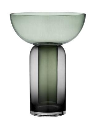 Decoration - Vases - Torus Large Vase - / H 35 cm by AYTM - Forest green / Black - Glass