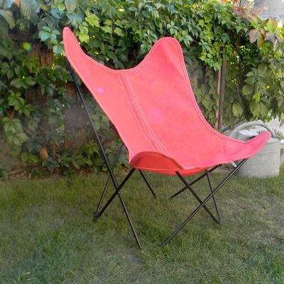 Furniture - Armchairs - AA Butterfly OUTDOOR Armchair - / Batyline - Black structure by AA-New Design - Red / Black metal - Batyline cloth, Powder coated steel