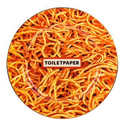 Assiette Toiletpaper - Spaghetti / Porcelaine - Seletti multicolore en céramique