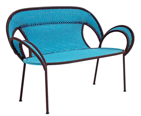 Furniture - Benches - M'Afrique - Banjooli Bench - / 2 places - L 143 cm by Moroso - Bleu / Marron - Braided polyethylene, Lacquered steel