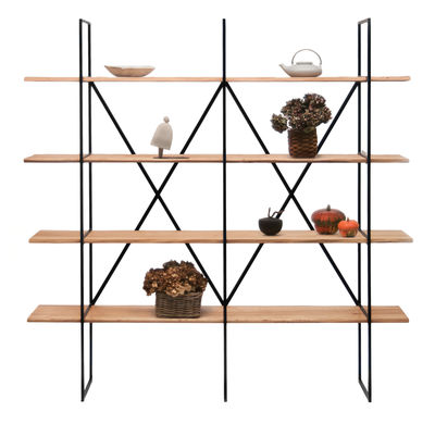 Furniture - Bookcases & Bookshelves - Slim Irony Bookcase - L 190 x D 35 x H 190 cm by Zeus - Natural wood / Copper black - Solid poplar, Steel