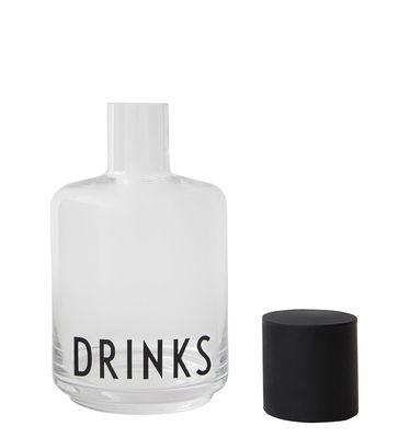 Arts de la table - Carafes et décanteurs - Carafe Arne Jacobsen / 0,5 L - Design Letters - Transparent / Inscription noire - Silicone, Verre borosilicaté