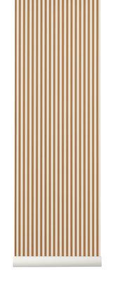 Interni - Sticker - Carta da parati Thin Lines - / 1 rotolo - Larg 53 cm di Ferm Living - Senape & beige - Tessuto non tessuto