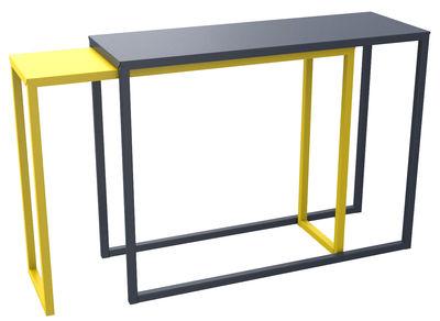 Arredamento - Console - Console: Burga - scorrevole / Lunghezza da 100 a 200 cm di Matière Grise - Console superiore azzurrite / Console inferiore gialla - Acciaio verniciato epossidico