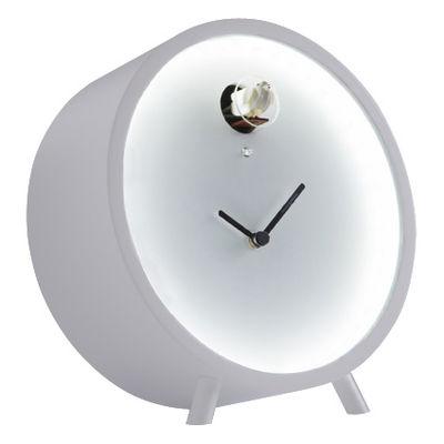 Decoration - Wall Clocks - Plex Desk clock - Luminous LED - With cuckoo - Standing version by Diamantini & Domeniconi - White - Plexiglas, Plywood lacquered birch