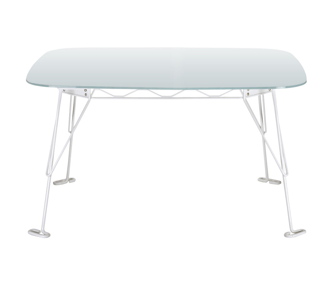 Furniture - Dining Tables - Eus Square table - 115 x 115 cm - Glass top by Eumenes - White structure / Etched crystal top - Opal glass, Varnished steel