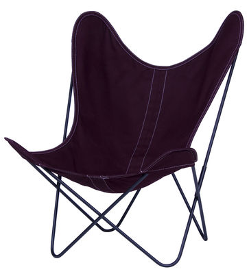 Chaise AA Butterfly OUTDOOR / Coton - Structure noire - AA-New Design violet en tissu