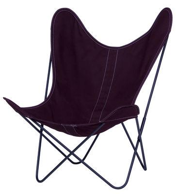 Chaise AA Butterfly toile / Structure noire - AA-New Design prune en tissu