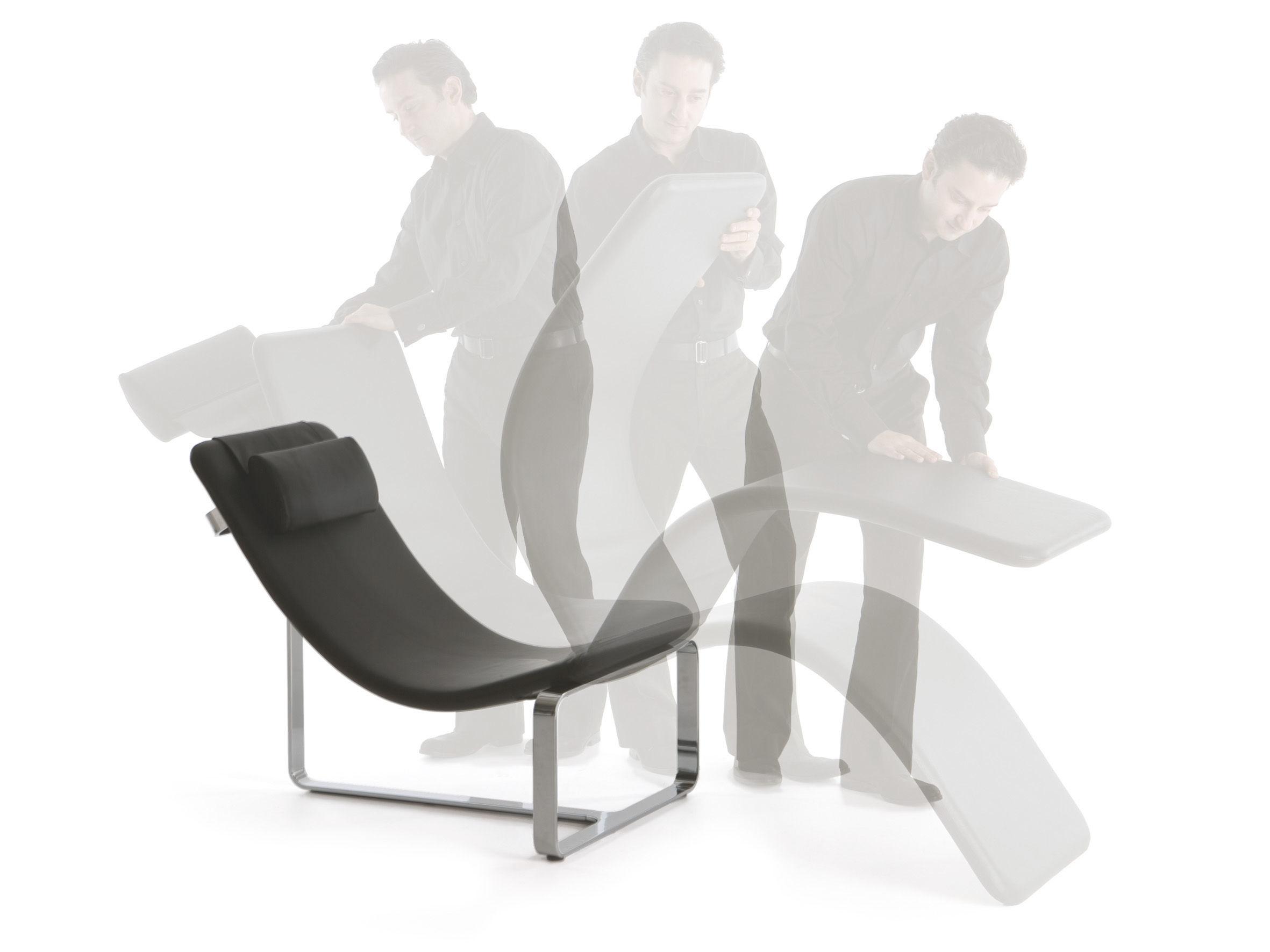 fauteuil flipt convertible en lit de jour cuir noir cerruti baleri made in design. Black Bedroom Furniture Sets. Home Design Ideas