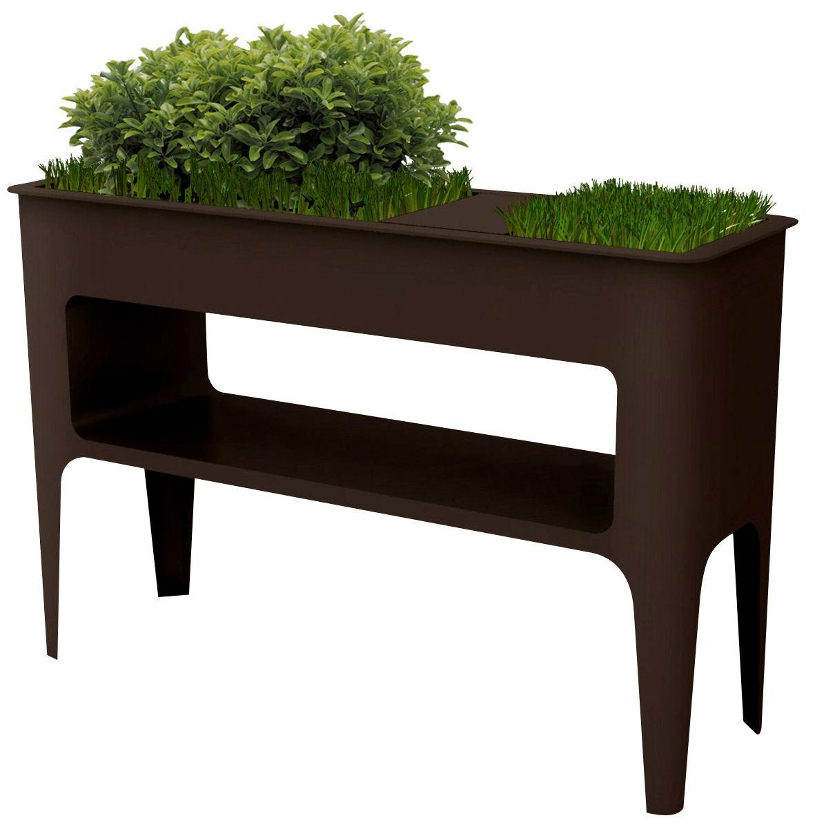 Möbel - Konsole - Babylone Konsole mit integriertem Blumentopf - Compagnie - Schokolade - Aluminium, lackierter Stahl