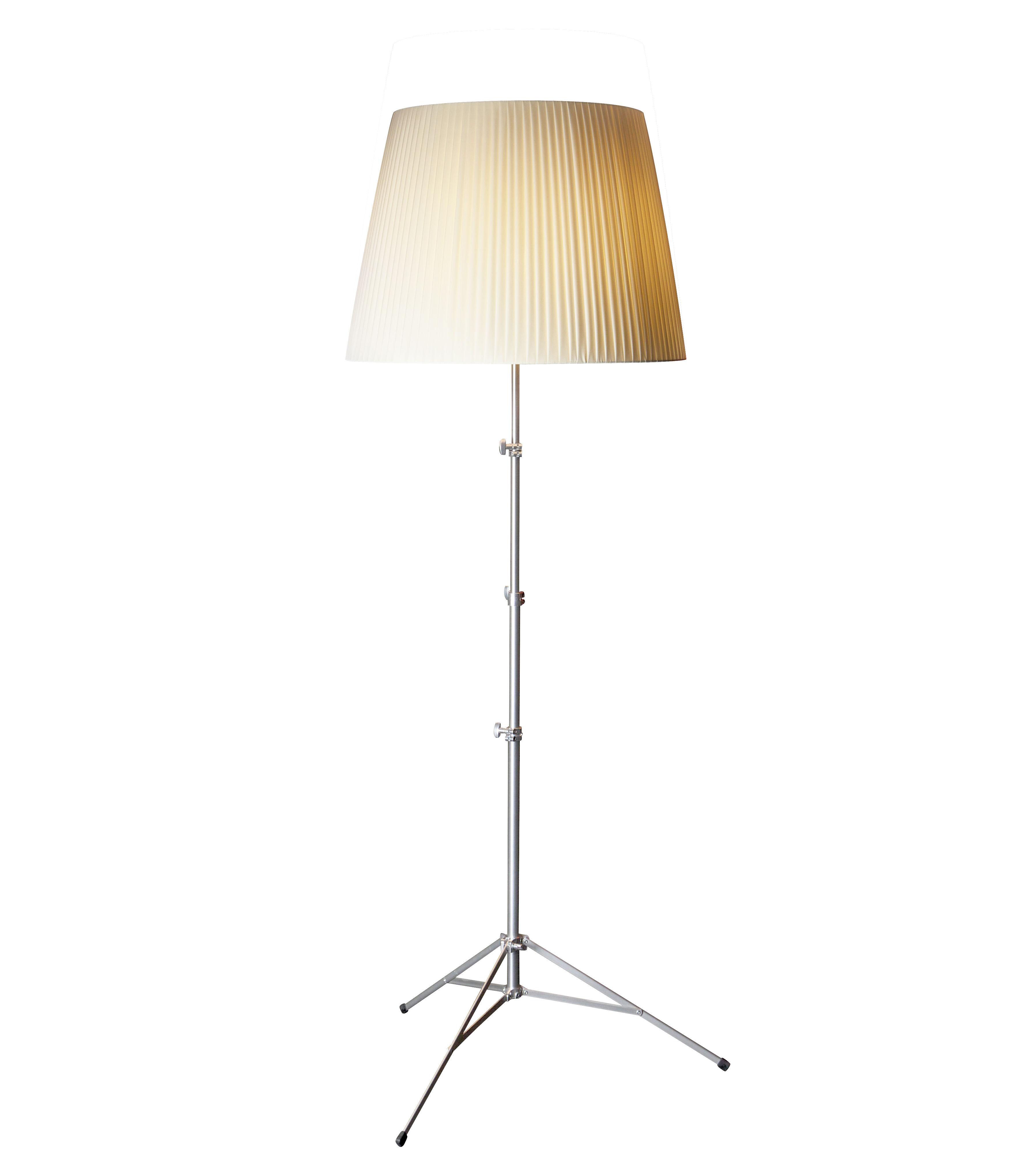 Luminaire - Lampadaires - Lampadaire Baby Gilda /Téléscopique - H 91 à 153,5 cm - Pallucco - Ivoire - Métal nickelé, Tissu
