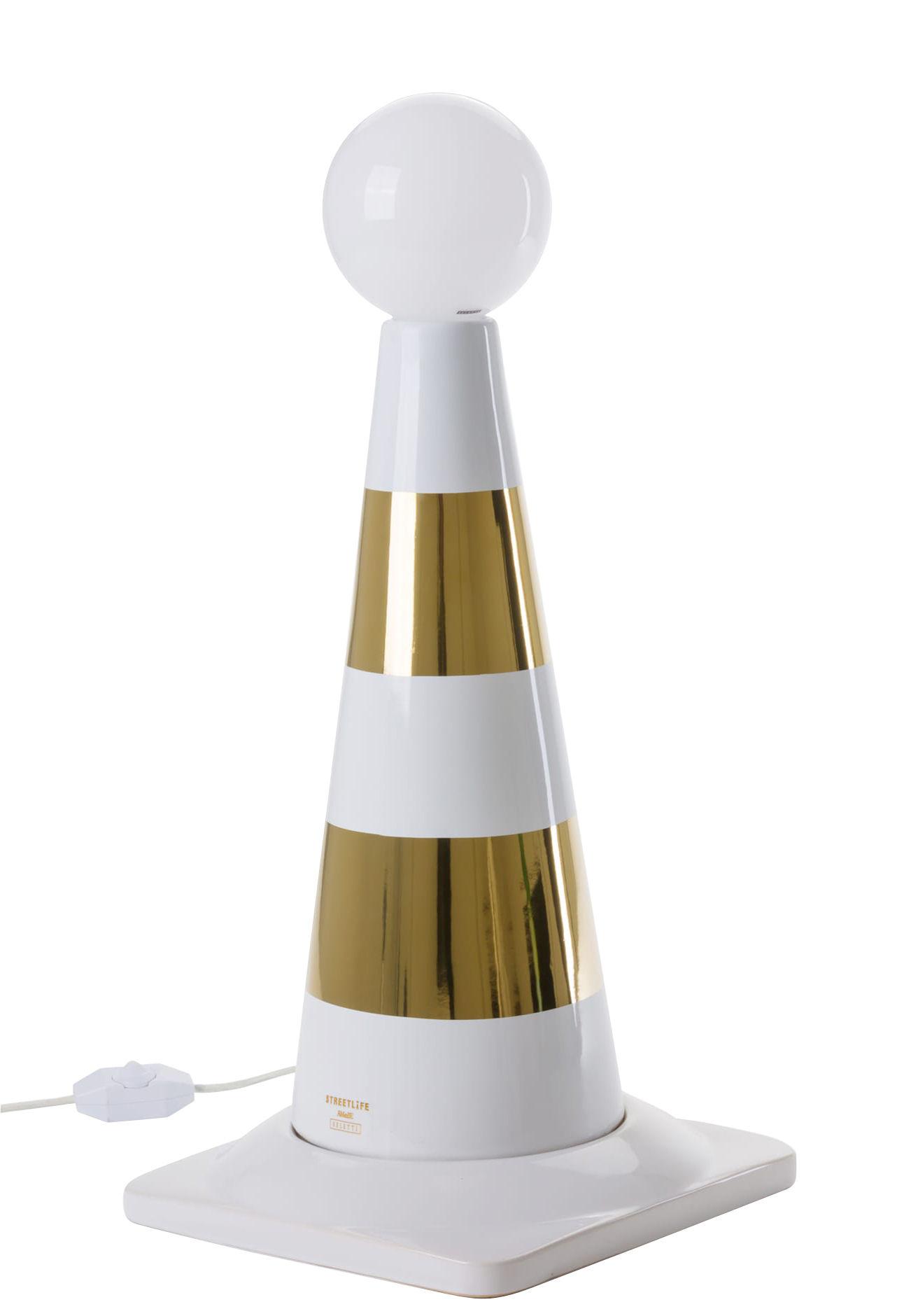 Luminaire - Lampes de table - Lampe de table Street Life / Porcelaine - H 48,5 cm - Seletti - Blanc & or - Porcelaine