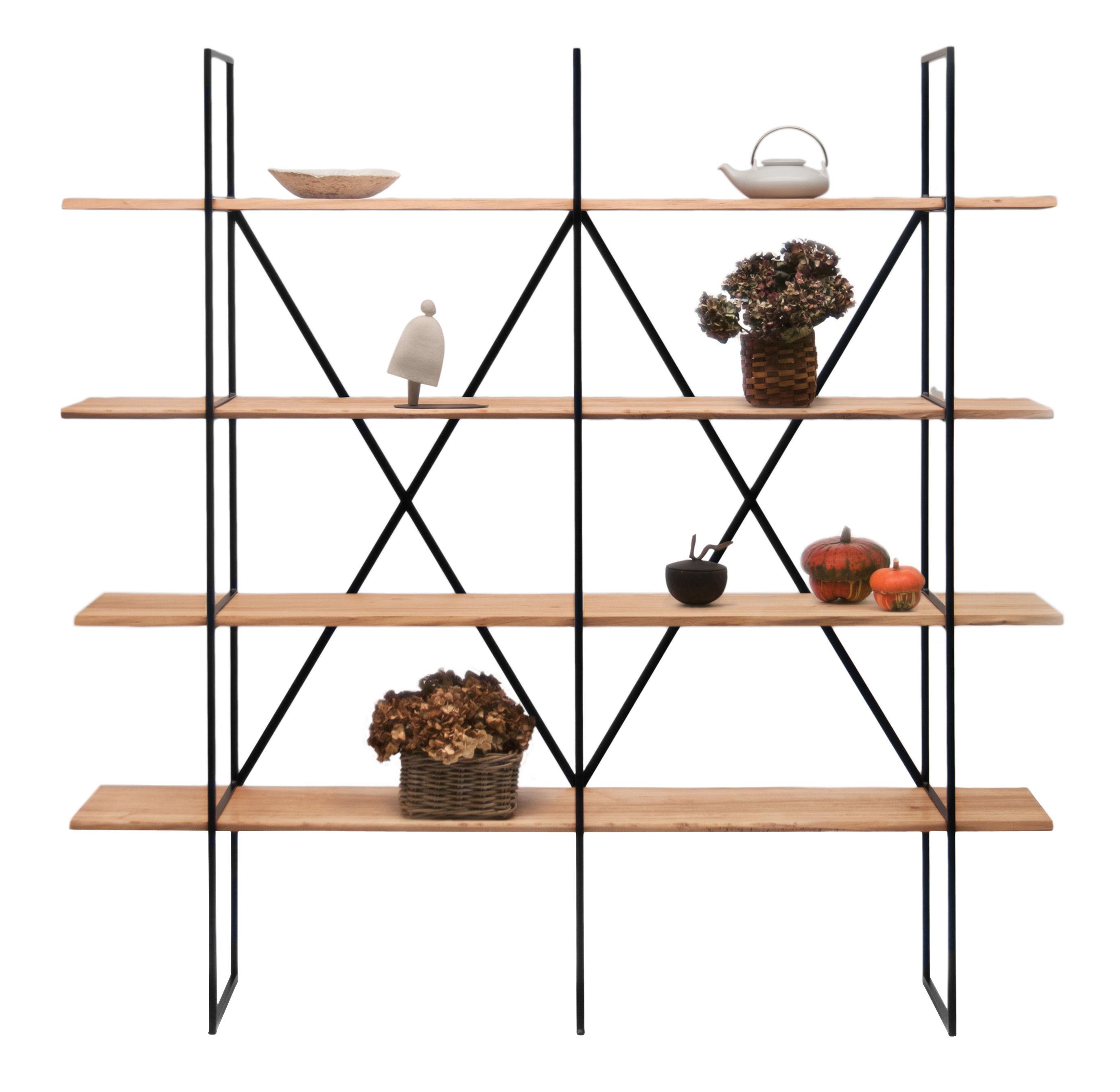 Arredamento - Scaffali e librerie - Libreria Slim Irony / L 190 x H 190 cm - Zeus - Legno naturale / nero ramato - Acciaio, Peuplier massif