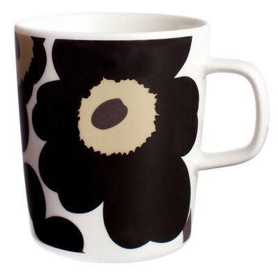 Tableware - Coffee Mugs & Tea Cups - Unikko Mug by Marimekko - Unikko - White & black - Enamelled china