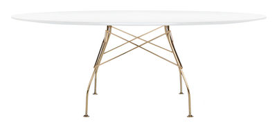 Furniture - Dining Tables - Glossy Glass Oval table - Ovale / L 194 cm by Kartell - White top/ Chromed leg - Chromed steel, Glass