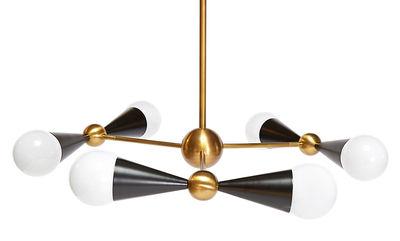 Lighting - Pendant Lighting - Caracas Pendant - 6 light sources by Jonathan Adler - 6 light sources - Gold brass / Black - Polished brass