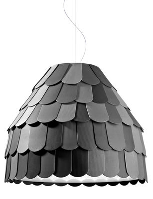 Lighting - Pendant Lighting - Roofer Pendant - Suspension by Fabbian - Anthracite - Rubber