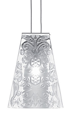 Lighting - Pendant Lighting - Vicky Pendant by Fabbian - Transparent glass / raised pattern - Chromed metal, Glass