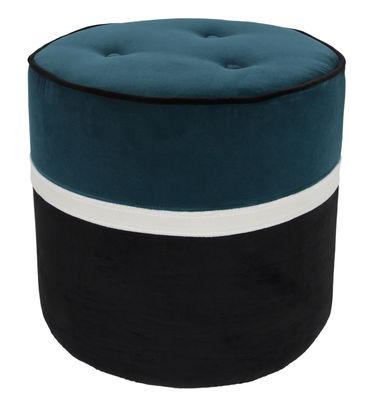 Arredamento - Pouf - Pouf Léo Small / Ø 42 x H 43 cm - Velluto - Maison Sarah Lavoine - Blu, Gelsomino, nero - Espanso, Legno, Velluto