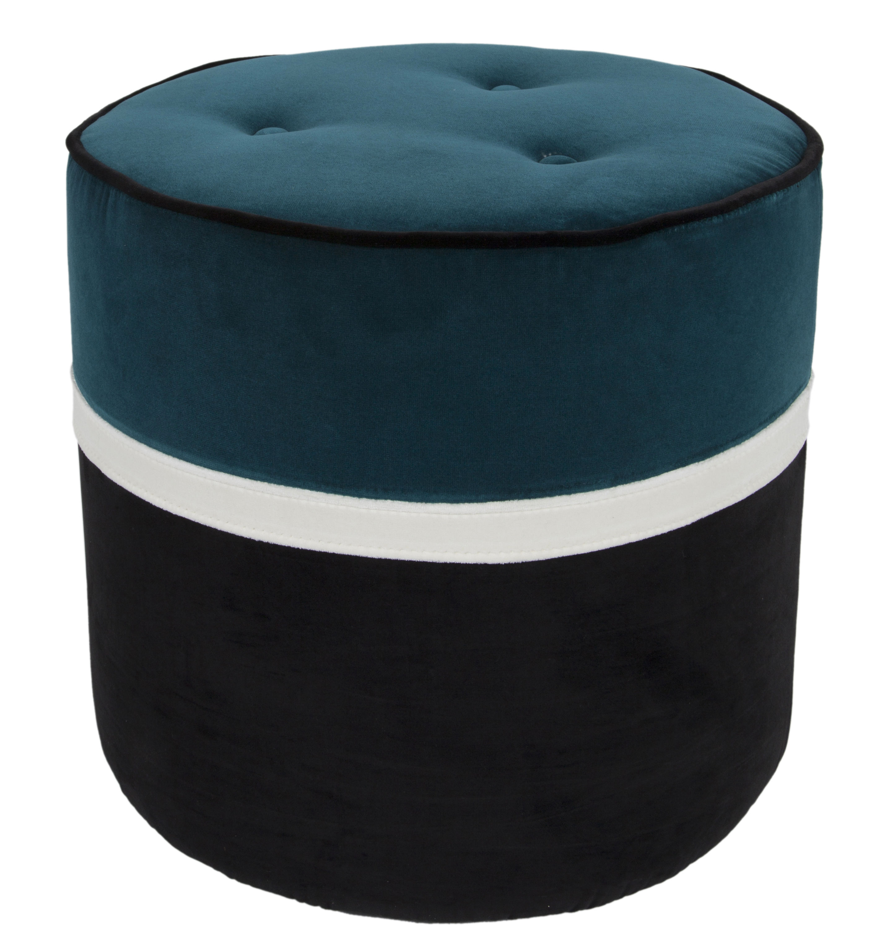 Furniture - Poufs & Floor Cushions - Léo Small Pouf - / Ø 42 x H 43 cm - Velvet by Maison Sarah Lavoine - Blue, Jasmine, Black - Foam, Velvet, Wood
