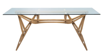 Trends - Take your seat! - Reale Rectangular table - Wood & Glass - 90 x 200 cm by Zanotta - Natural oak / Glass top - Glass, Oak