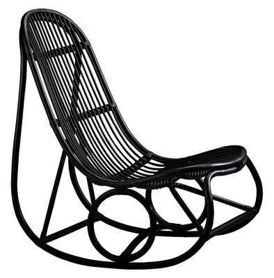 Furniture - Armchairs - Nanny Rocking chair - Reissue 1969 by Sika Design - Black - Rattan