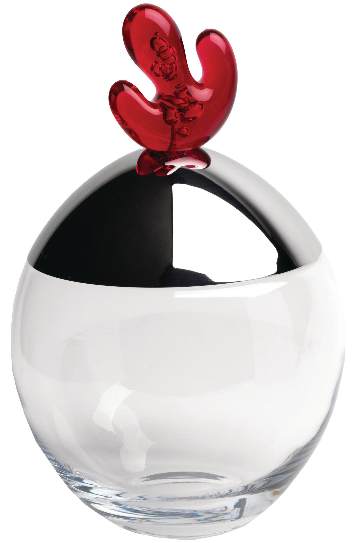 Küche - Dosen, Boxen und Gläser - Big ovo Schachtel - Alessi - Rot - Acier brillant, Verre cristallin