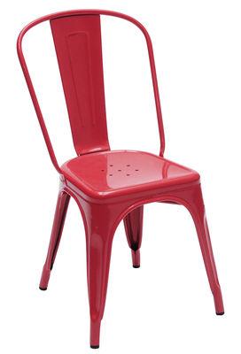 Arredamento - Sedie  - Sedia impilabile A - acciaio laccato di Tolix - Rosso - Acciaio riciclato laccato